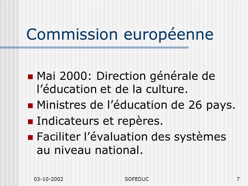 03-10-2002SOFEDUC7 Commission européenne Mai 2000: Direction générale de léducation et de la culture. Ministres de léducation de 26 pays. Indicateurs