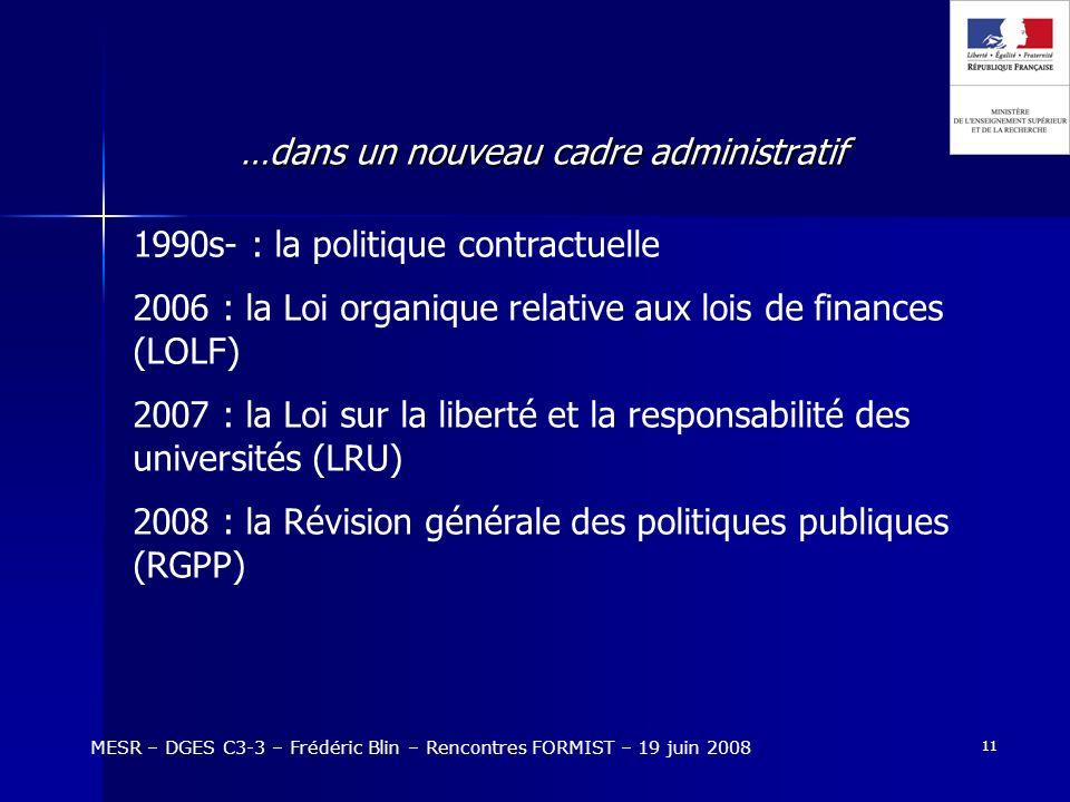 11 …dans un nouveau cadre administratif MESR – DGES C3-3 – Frédéric Blin – Rencontres FORMIST – 19 juin 2008 1990s- : la politique contractuelle 2006 : la Loi organique relative aux lois de finances (LOLF) 2007 : la Loi sur la liberté et la responsabilité des universités (LRU) 2008 : la Révision générale des politiques publiques (RGPP)