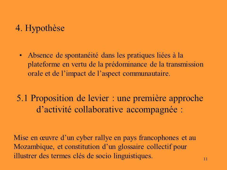 11 4. Hypothèse Absence de spontanéité dans les pratiques liées à la plateforme en vertu de la prédominance de la transmission orale et de limpact de
