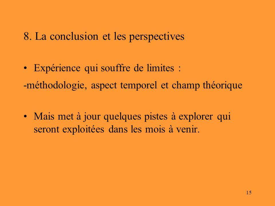 15 8. La conclusion et les perspectives Expérience qui souffre de limites : -méthodologie, aspect temporel et champ théorique Mais met à jour quelques