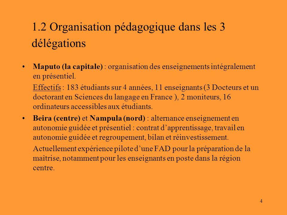 4 1.2 Organisation pédagogique dans les 3 délégations Maputo (la capitale) : organisation des enseignements intégralement en présentiel. Effectifs : 1