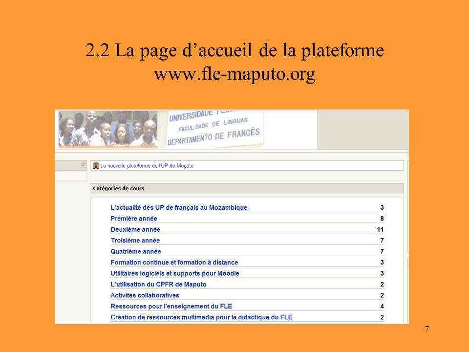 7 2.2 La page daccueil de la plateforme www.fle-maputo.org