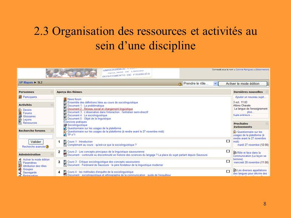 8 2.3 Organisation des ressources et activités au sein dune discipline