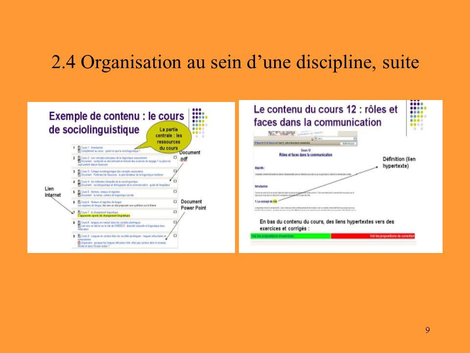 9 2.4 Organisation au sein dune discipline, suite