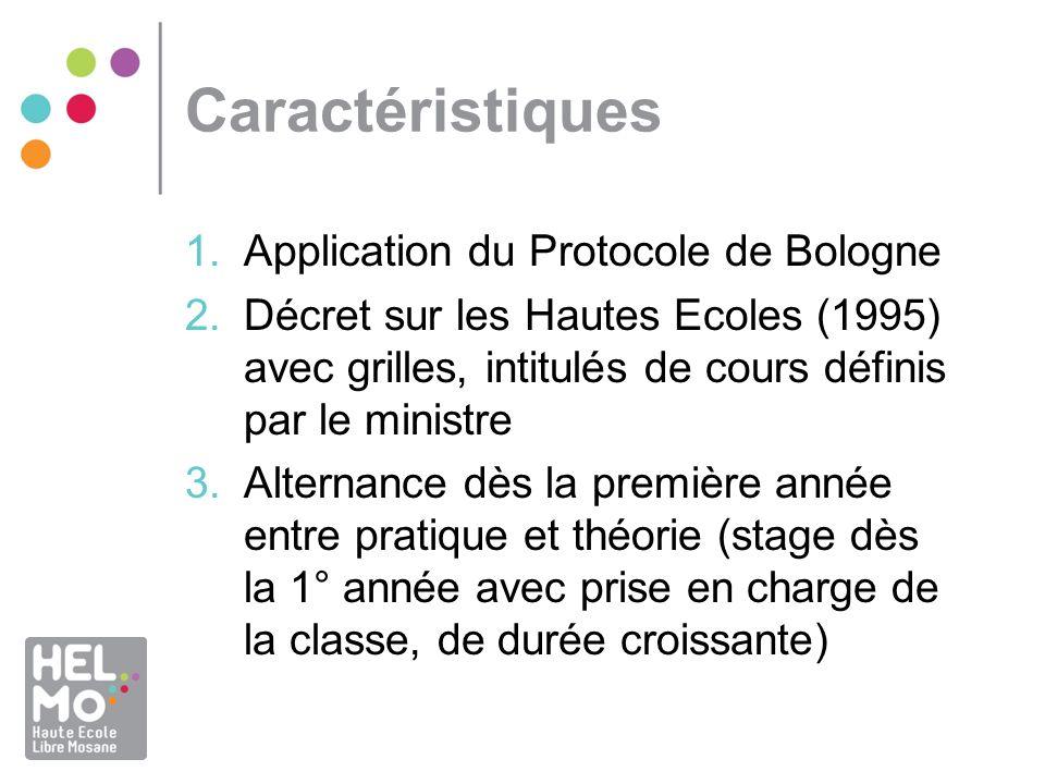 Caractéristiques 1.Application du Protocole de Bologne 2.Décret sur les Hautes Ecoles (1995) avec grilles, intitulés de cours définis par le ministre