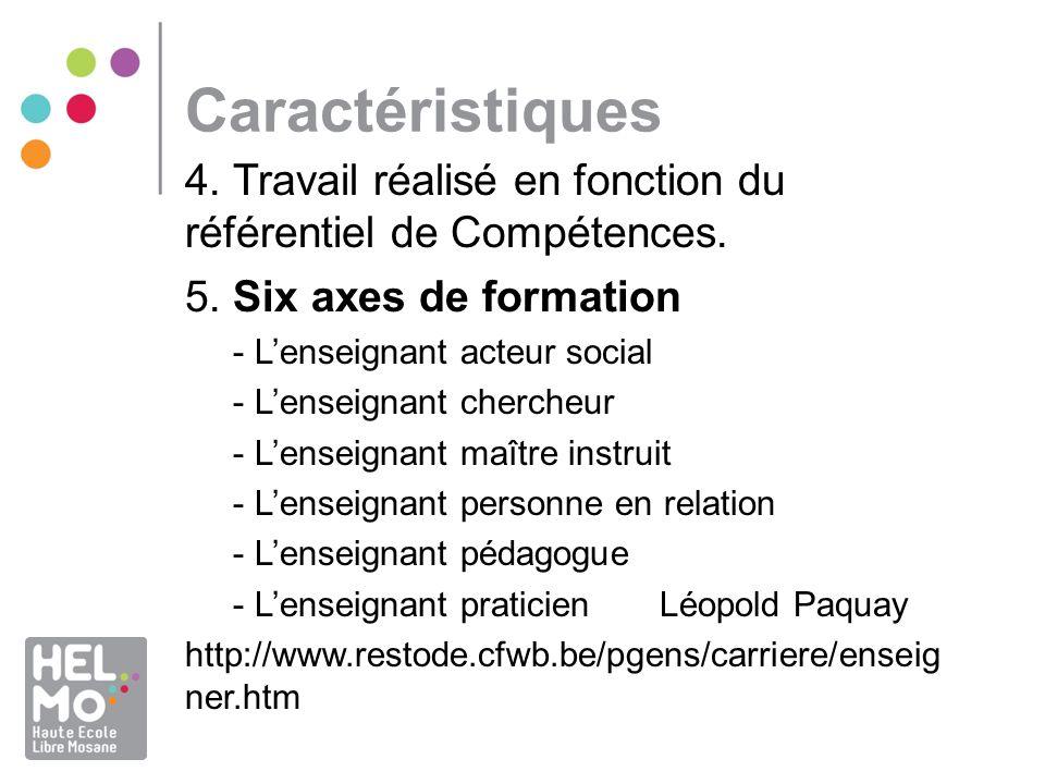 Caractéristiques 4. Travail réalisé en fonction du référentiel de Compétences. 5. Six axes de formation - Lenseignant acteur social - Lenseignant cher