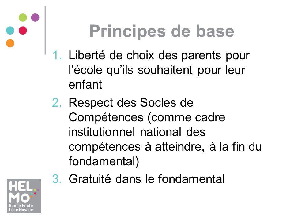 Principes de base 1.Liberté de choix des parents pour lécole quils souhaitent pour leur enfant 2.Respect des Socles de Compétences (comme cadre instit