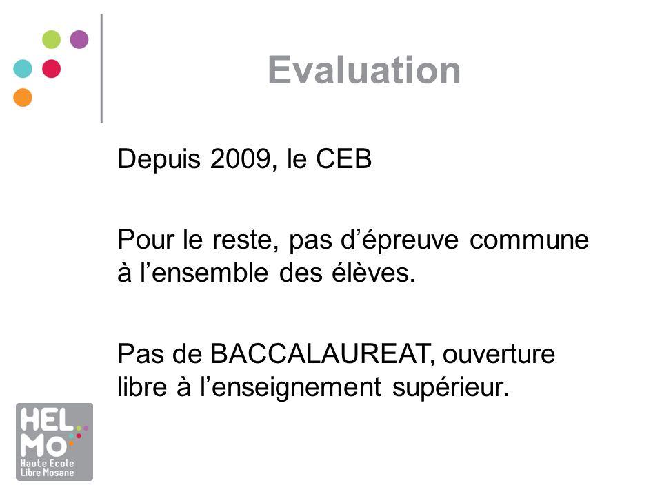 Evaluation Depuis 2009, le CEB Pour le reste, pas dépreuve commune à lensemble des élèves. Pas de BACCALAUREAT, ouverture libre à lenseignement supéri