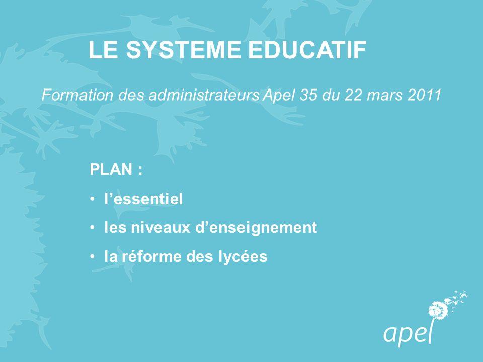 PLAN : lessentiel les niveaux denseignement la réforme des lycées LE SYSTEME EDUCATIF Formation des administrateurs Apel 35 du 22 mars 2011