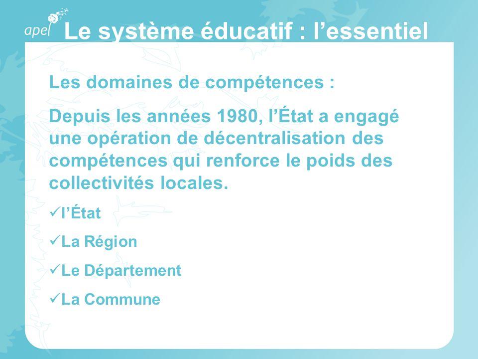 Le système éducatif : lessentiel Les domaines de compétences : Depuis les années 1980, lÉtat a engagé une opération de décentralisation des compétence