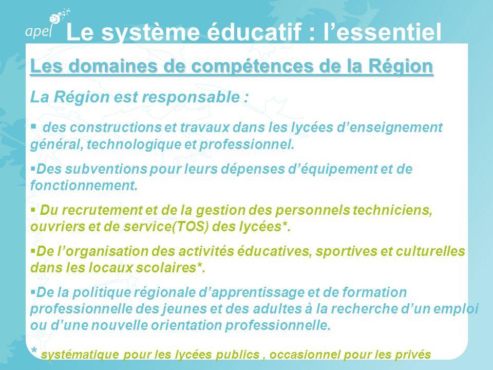 Le système éducatif : lessentiel Les domaines de compétences de la Région La Région est responsable : des constructions et travaux dans les lycées den