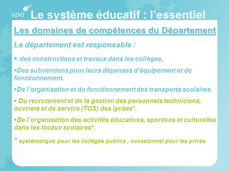 Le système éducatif : lessentiel Les domaines de compétences du Département Le département est responsable : des constructions et travaux dans les col