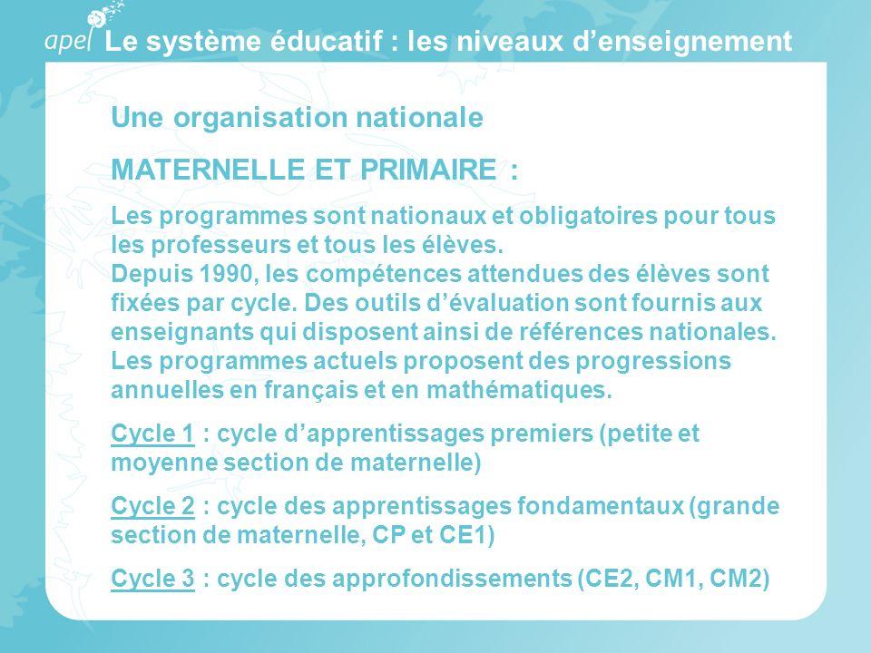 Le système éducatif : les niveaux denseignement Une organisation nationale MATERNELLE ET PRIMAIRE : Les programmes sont nationaux et obligatoires pour