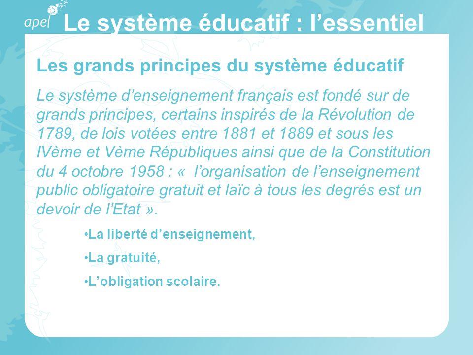 Le système éducatif : lessentiel Les grands principes du système éducatif Le système denseignement français est fondé sur de grands principes, certain