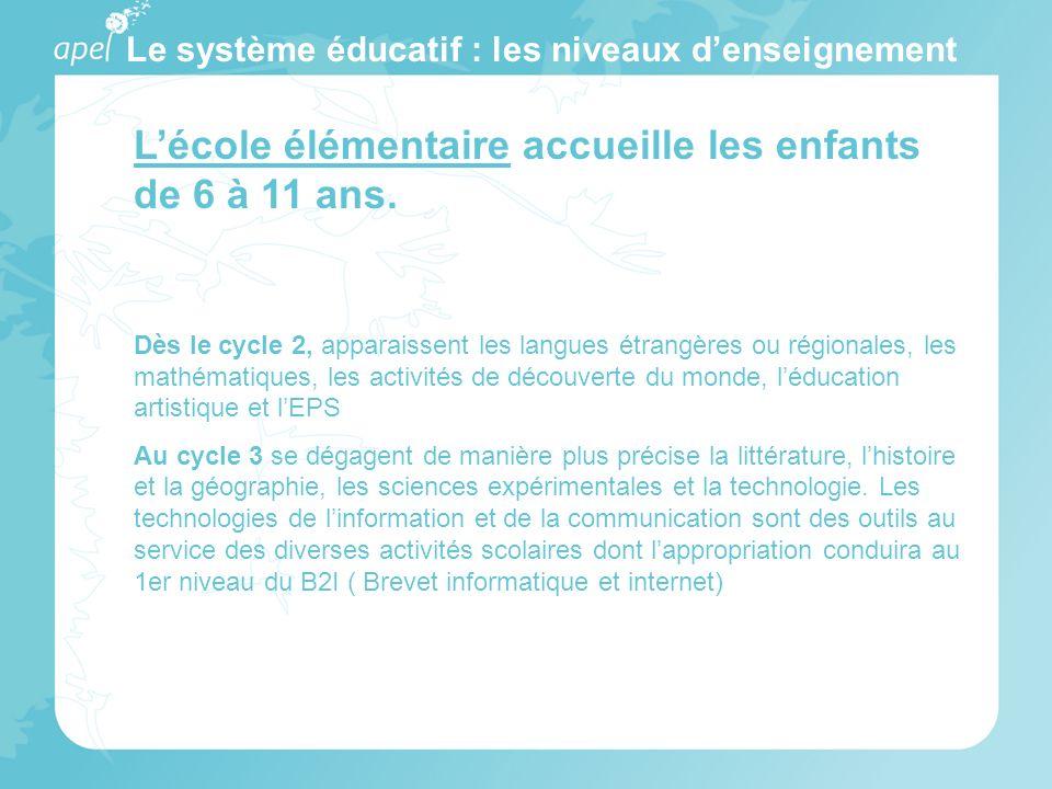 Le système éducatif : les niveaux denseignement Lécole élémentaire accueille les enfants de 6 à 11 ans. Dès le cycle 2, apparaissent les langues étran