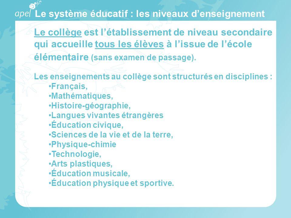 Le système éducatif : les niveaux denseignement Le collège est létablissement de niveau secondaire qui accueille tous les élèves à lissue de lécole él