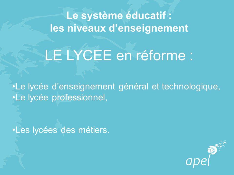 Le système éducatif : les niveaux denseignement LE LYCEE en réforme : Le lycée denseignement général et technologique, Le lycée professionnel, Les lyc