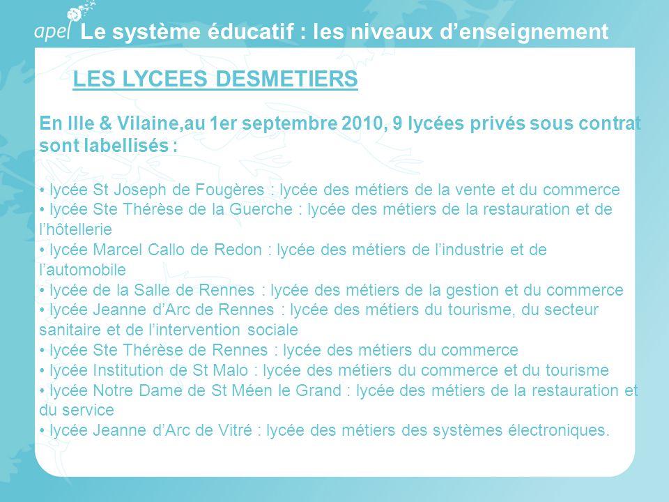 Le système éducatif : les niveaux denseignement LES LYCEES DESMETIERS En Ille & Vilaine,au 1er septembre 2010, 9 lycées privés sous contrat sont label