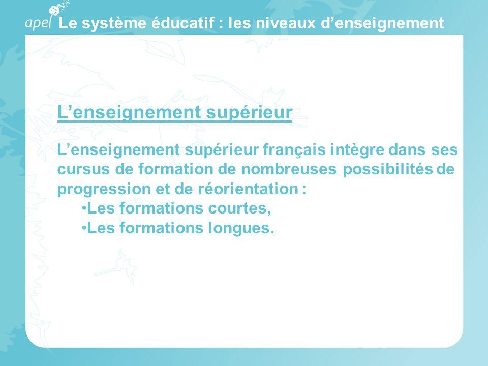 Le système éducatif : les niveaux denseignement Lenseignement supérieur Lenseignement supérieur français intègre dans ses cursus de formation de nombr