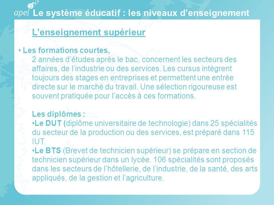 Le système éducatif : les niveaux denseignement Lenseignement supérieur Les formations courtes, 2 années détudes après le bac, concernent les secteurs