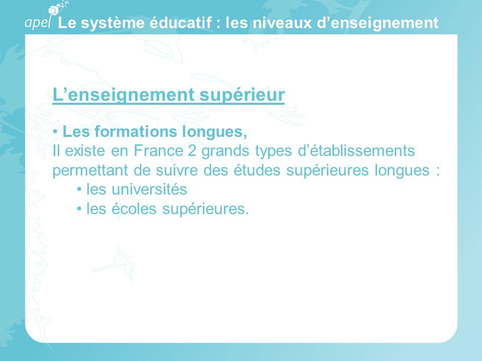 Le système éducatif : les niveaux denseignement Lenseignement supérieur Les formations longues, Il existe en France 2 grands types détablissements per