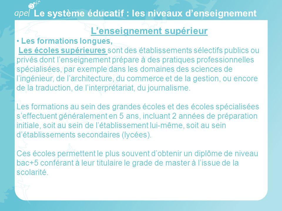 Le système éducatif : les niveaux denseignement Lenseignement supérieur Les formations longues, Les écoles supérieures sont des établissements sélecti