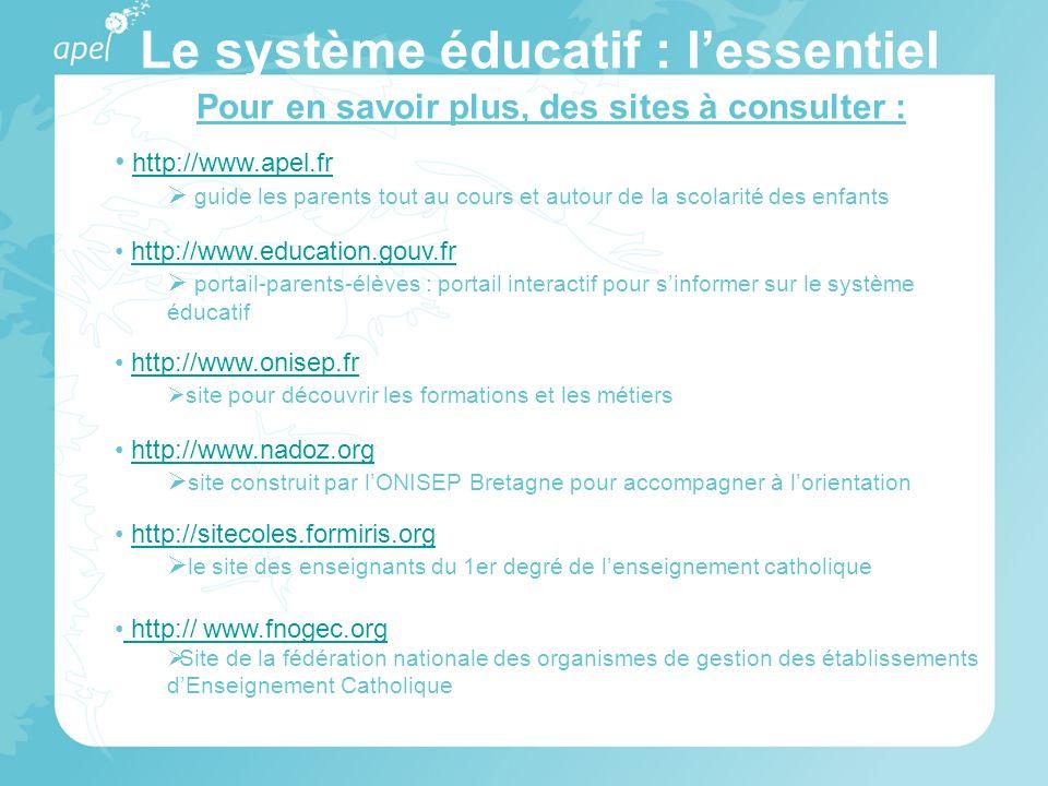 Pour en savoir plus, des sites à consulter : http://www.apel.fr guide les parents tout au cours et autour de la scolarité des enfants http://www.educa