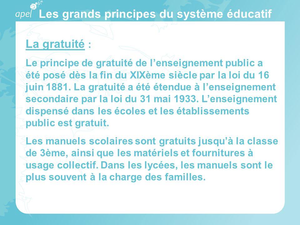 Les grands principes du système éducatif La gratuité : Le principe de gratuité de lenseignement public a été posé dès la fin du XIXème siècle par la l