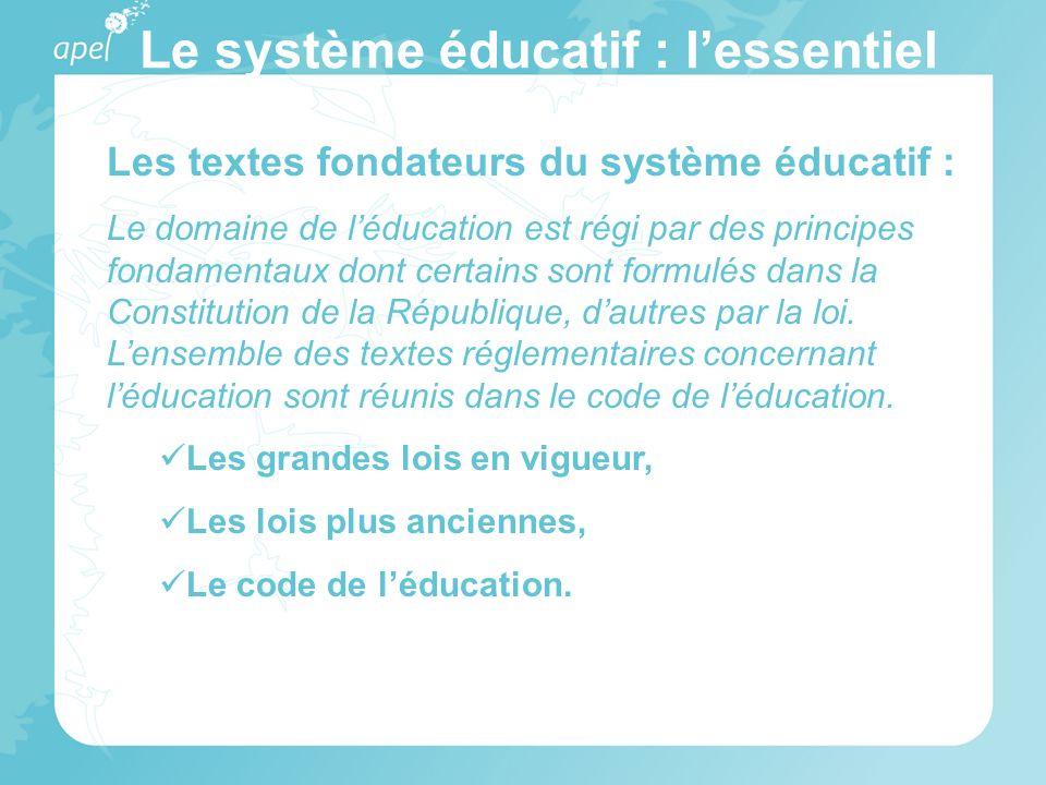 Le système éducatif : lessentiel Les textes fondateurs du système éducatif : Le domaine de léducation est régi par des principes fondamentaux dont cer