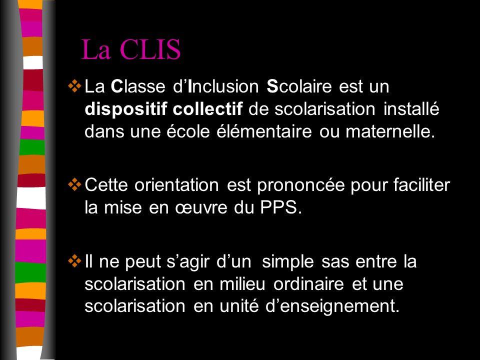 La CLIS La Classe dInclusion Scolaire est un dispositif collectif de scolarisation installé dans une école élémentaire ou maternelle.