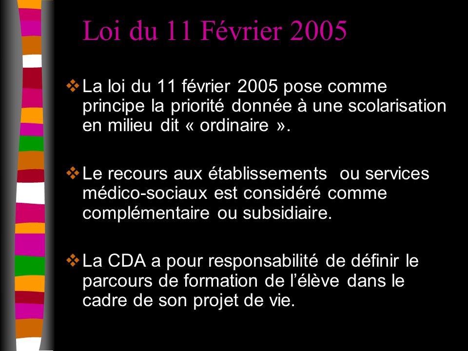Loi du 11 Février 2005 La loi du 11 février 2005 pose comme principe la priorité donnée à une scolarisation en milieu dit « ordinaire ».