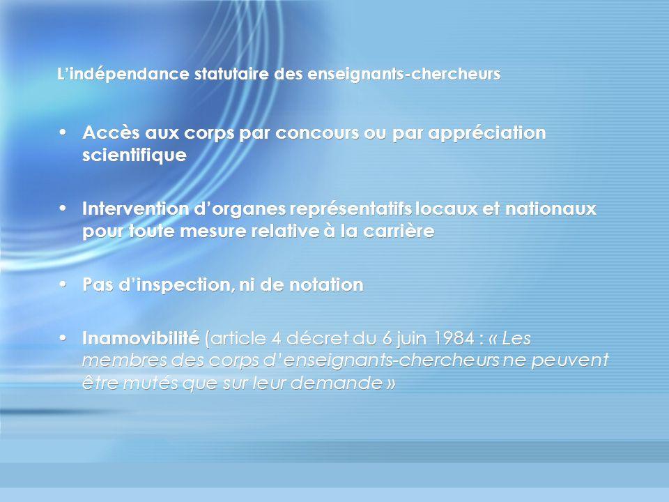 Lindépendance statutaire des enseignants-chercheurs Accès aux corps par concours ou par appréciation scientifique Intervention dorganes représentatifs
