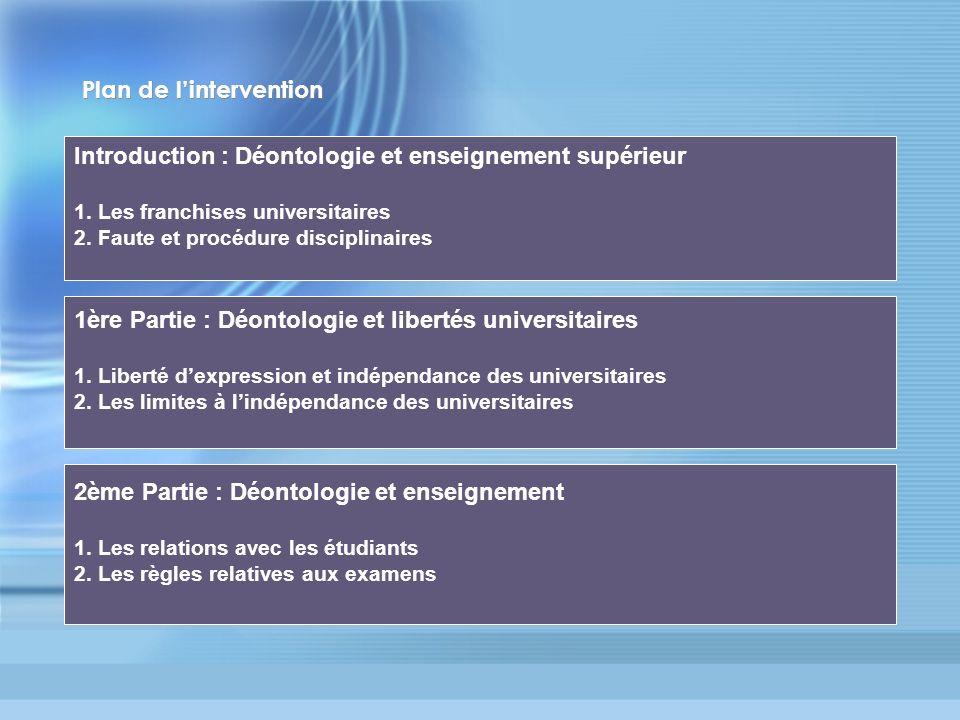 Plan de lintervention Introduction : Déontologie et enseignement supérieur 1. Les franchises universitaires 2. Faute et procédure disciplinaires 1ère