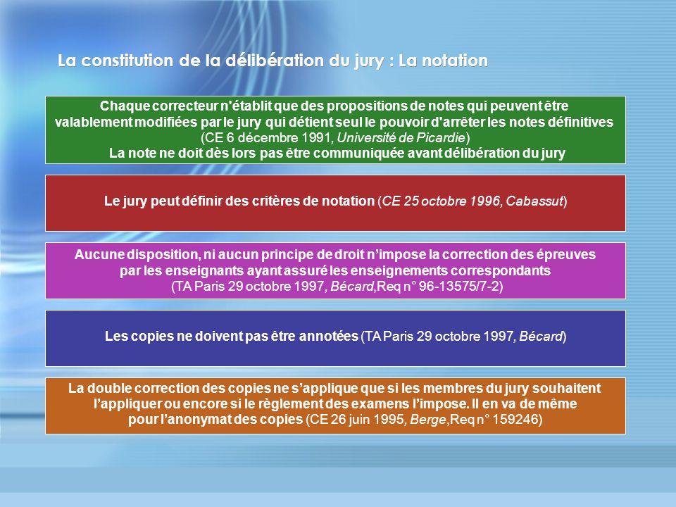 La constitution de la délibération du jury : La notation Chaque correcteur n'établit que des propositions de notes qui peuvent être valablement modifi