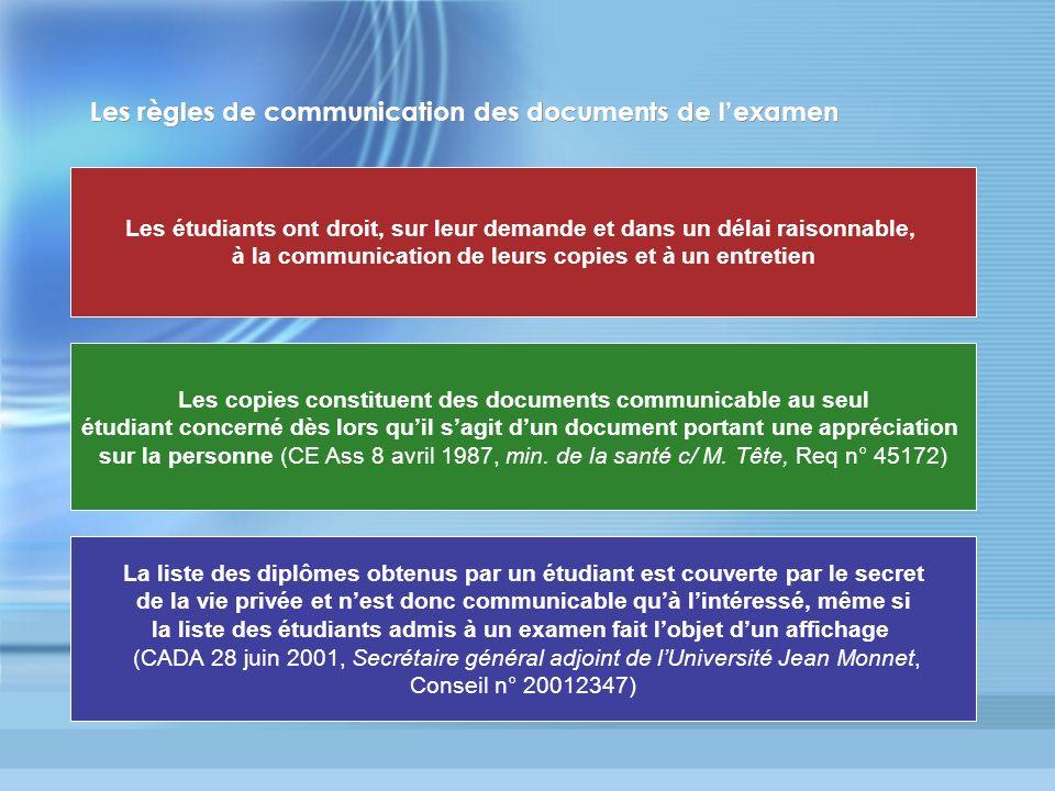 Les règles de communication des documents de lexamen Les étudiants ont droit, sur leur demande et dans un délai raisonnable, à la communication de leu