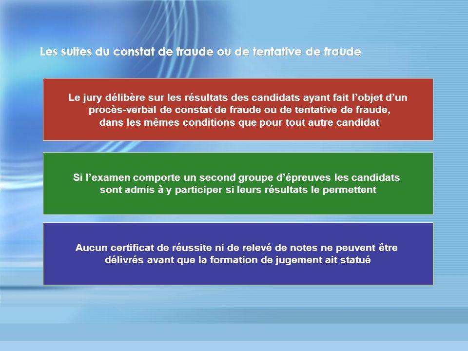 Les suites du constat de fraude ou de tentative de fraude Le jury délibère sur les résultats des candidats ayant fait lobjet dun procès-verbal de cons