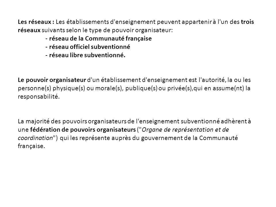 Les réseaux : Les établissements d'enseignement peuvent appartenir à l'un des trois réseaux suivants selon le type de pouvoir organisateur: - réseau d