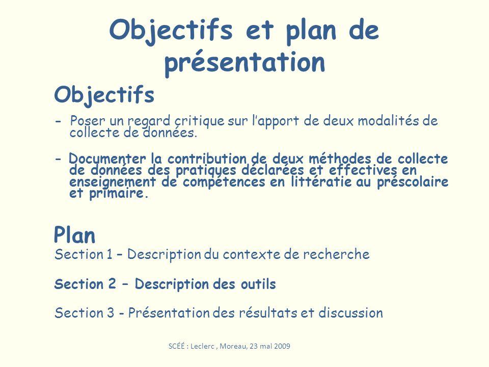 Objectifs et plan de présentation Objectifs - Poser un regard critique sur lapport de deux modalités de collecte de données. - Documenter la contribut