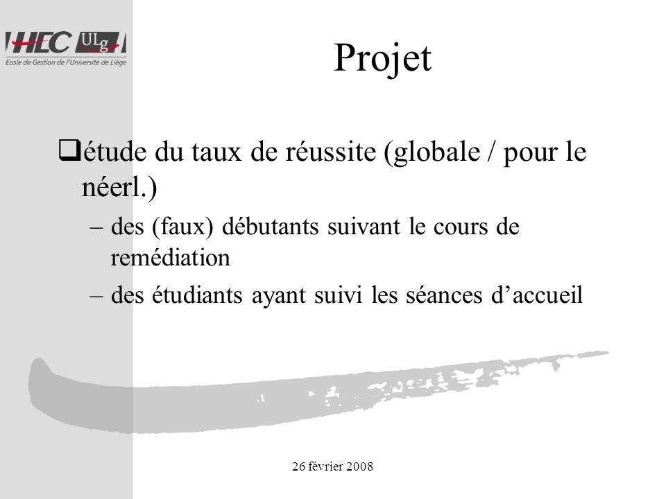 26 février 2008 Projet étude du taux de réussite (globale / pour le néerl.) –des (faux) débutants suivant le cours de remédiation –des étudiants ayant suivi les séances daccueil