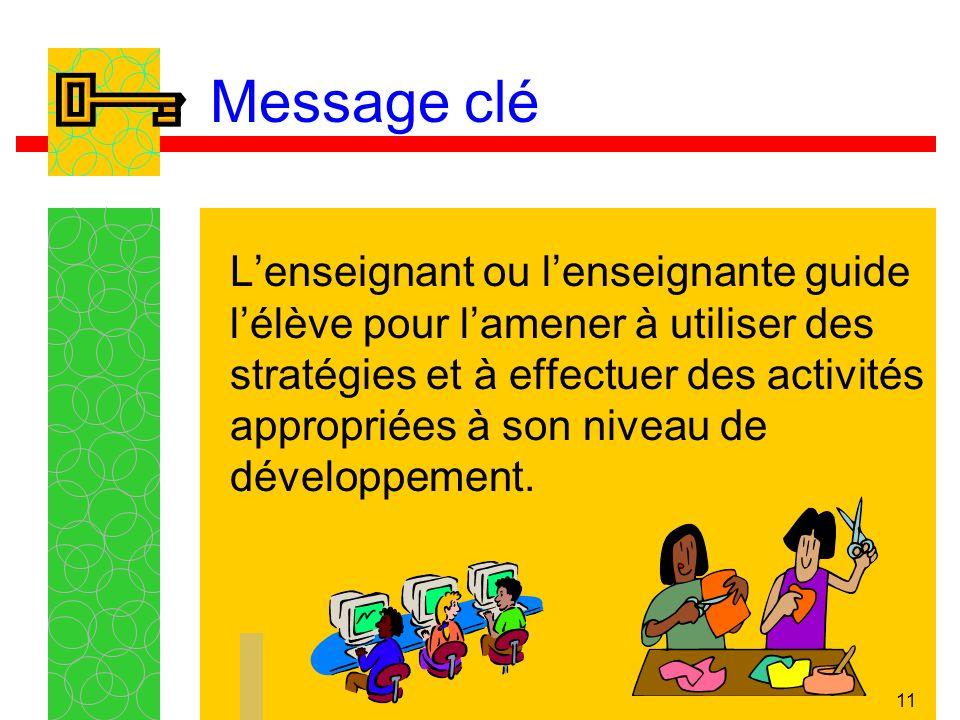 11 Message clé Lenseignant ou lenseignante guide lélève pour lamener à utiliser des stratégies et à effectuer des activités appropriées à son niveau de développement.