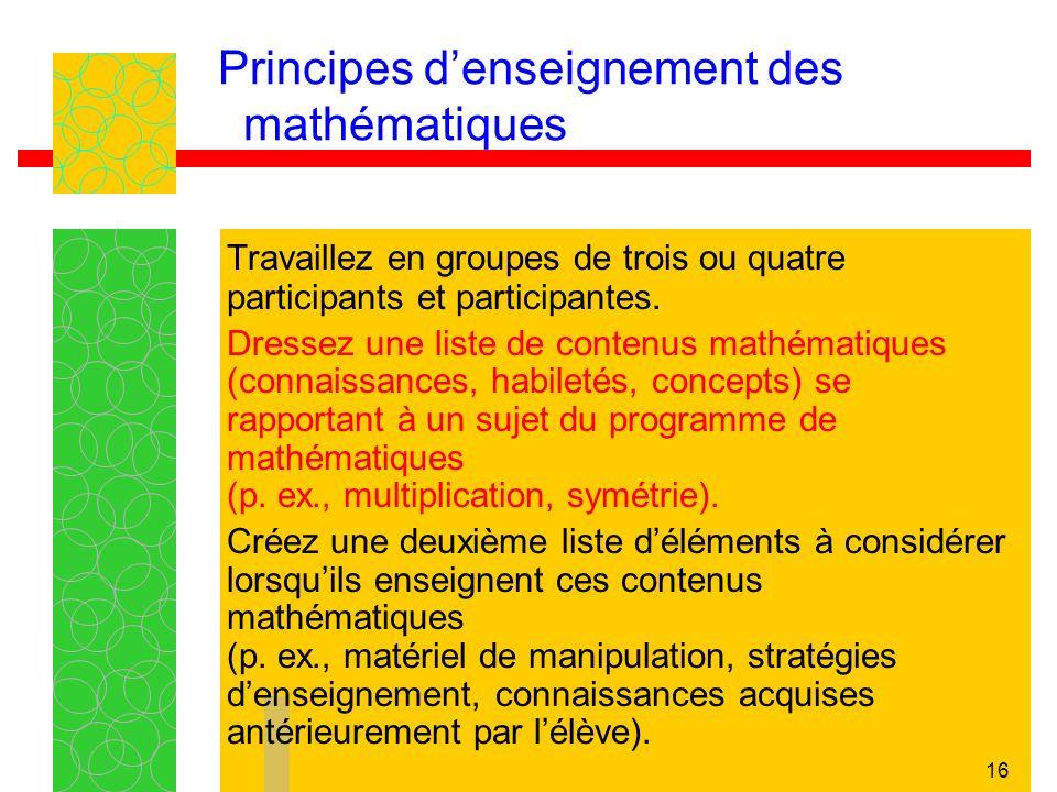 16 Principes denseignement des mathématiques Travaillez en groupes de trois ou quatre participants et participantes. Dressez une liste de contenus mat