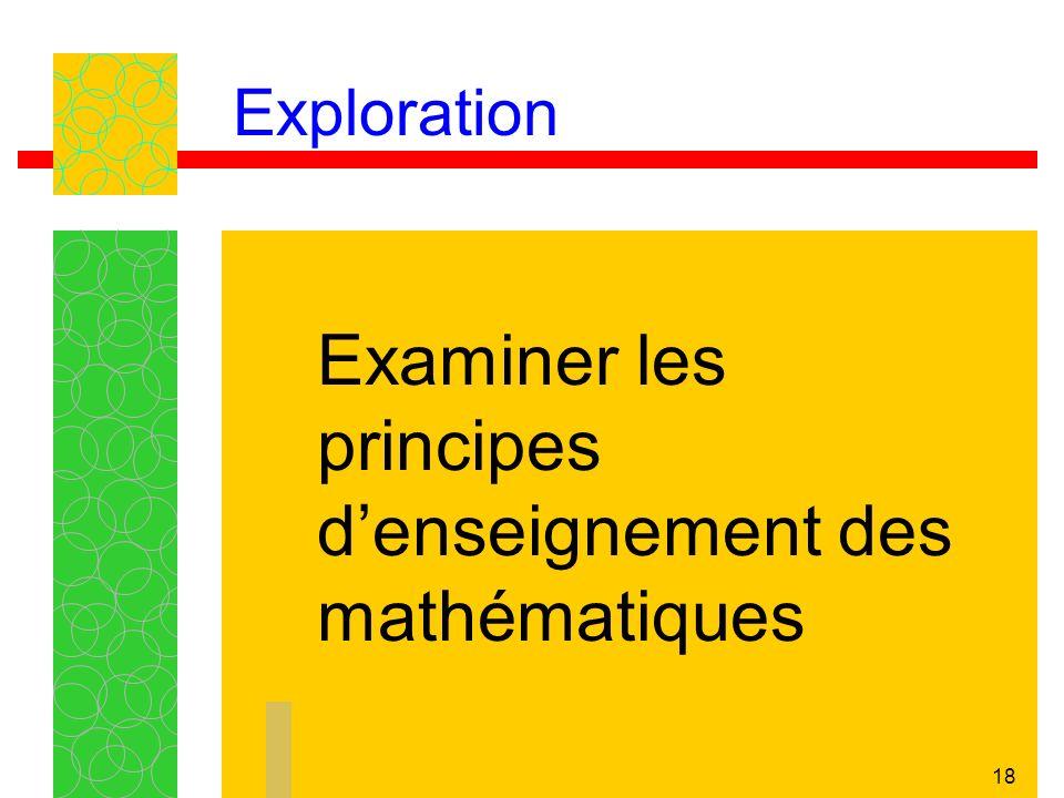 18 Exploration Examiner les principes denseignement des mathématiques