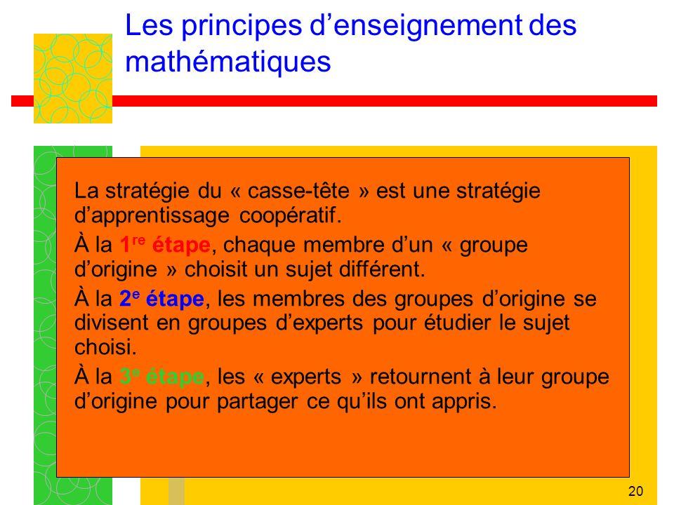 20 Les principes denseignement des mathématiques La stratégie du « casse-tête » est une stratégie dapprentissage coopératif. À la 1 re étape, chaque m