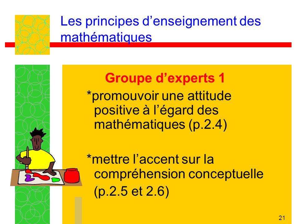 21 Les principes denseignement des mathématiques Groupe dexperts 1 *promouvoir une attitude positive à légard des mathématiques (p.2.4) *mettre laccent sur la compréhension conceptuelle (p.2.5 et 2.6)