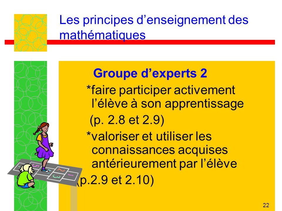 22 Les principes denseignement des mathématiques Groupe dexperts 2 *faire participer activement lélève à son apprentissage (p. 2.8 et 2.9) *valoriser