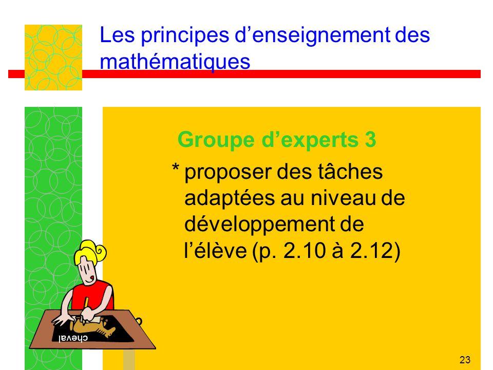 23 Les principes denseignement des mathématiques Groupe dexperts 3 *proposer des tâches adaptées au niveau de développement de lélève (p. 2.10 à 2.12)