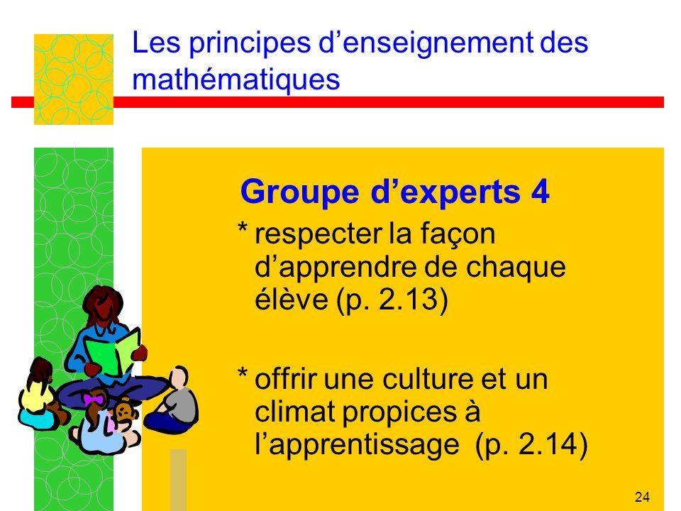 24 Les principes denseignement des mathématiques Groupe dexperts 4 *respecter la façon dapprendre de chaque élève (p. 2.13) *offrir une culture et un