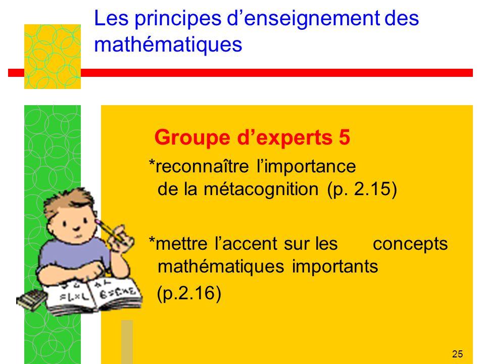 25 Les principes denseignement des mathématiques Groupe dexperts 5 *reconnaître limportance de la métacognition (p. 2.15) *mettre laccent sur les conc