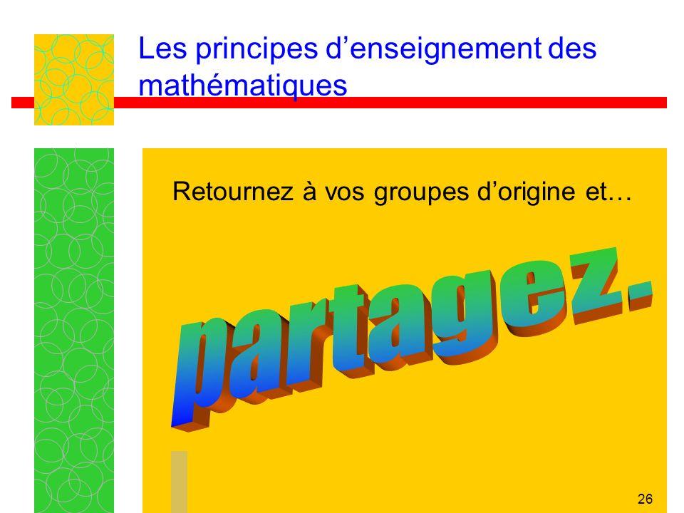 26 Les principes denseignement des mathématiques Retournez à vos groupes dorigine et…