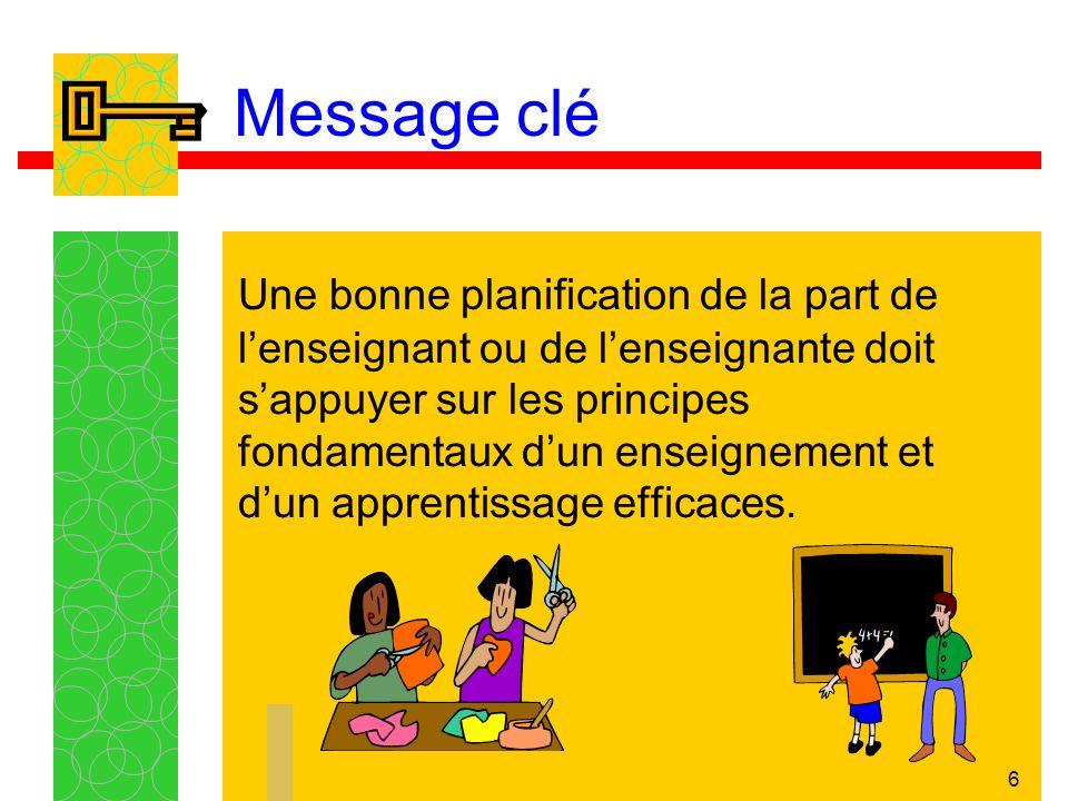 6 Message clé Une bonne planification de la part de lenseignant ou de lenseignante doit sappuyer sur les principes fondamentaux dun enseignement et dun apprentissage efficaces.